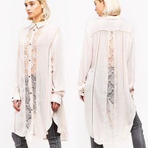 ✨NEW✨ Boho Chic Lace Embroidered Button Down Tunic